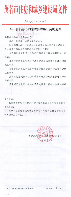 关于张俏萍等同志职务职级任免的通知(茂住建党[2019]27号).jpg